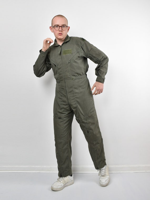 vintage ISRATEX 90s khaki green boiler suit / men'