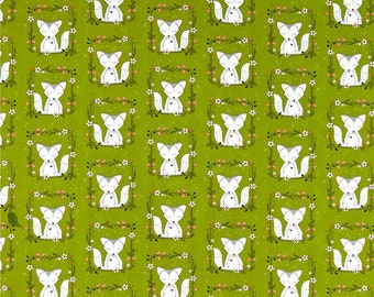Michael Miller Fabric Foxes, Green