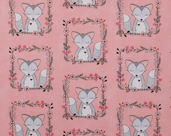 Michael Miller Fabric Foxes, Pink
