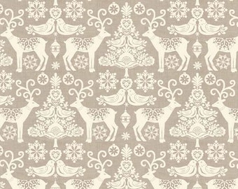 Reindeer fabric by Makower, taupe