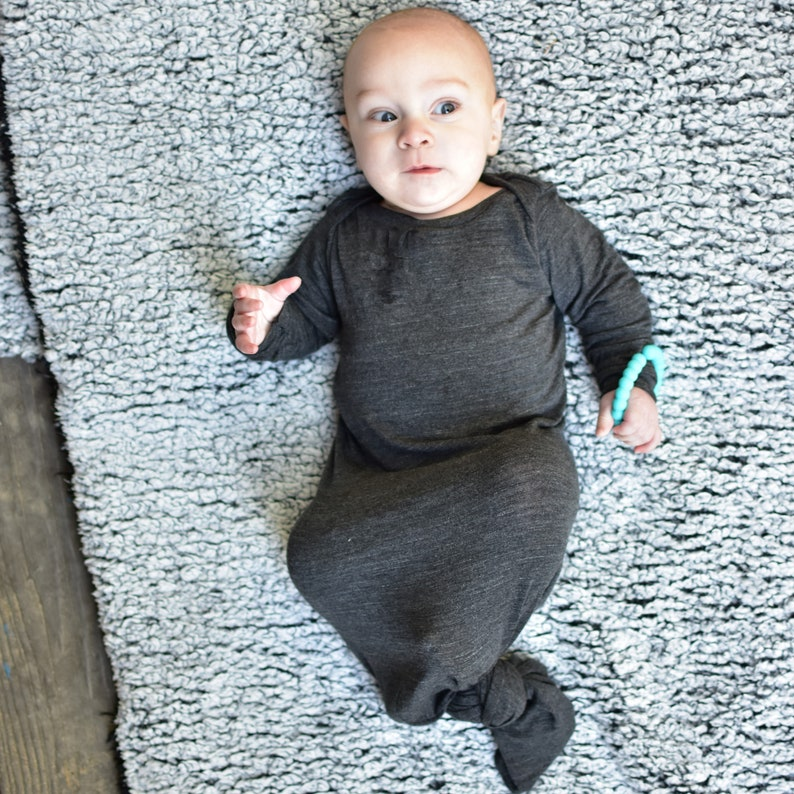 Charcoal Knot Style Baby Gown