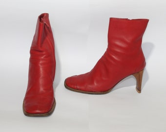 e5b6d5294c8490 ITALIAN red leather boots women s ankle boots