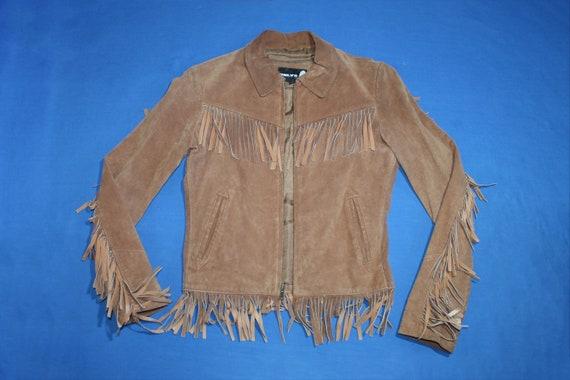 Women's Fringe Zipper Suede Leather Jacket size S