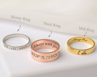 Custom Word Ring - Inside Outside Engraved Ring - Dainty Name Ring - Personalized Stacking Ring - Unisex  Ring - Boyfriend Gift