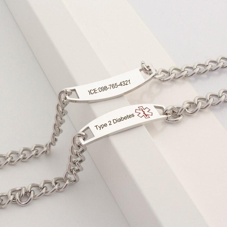 Medical Bracelet Chains Medical Alert Bracelet Chain Women Medical Id Stainless Steel Asthma Bracelet Chain Medical Alert Gift for Her