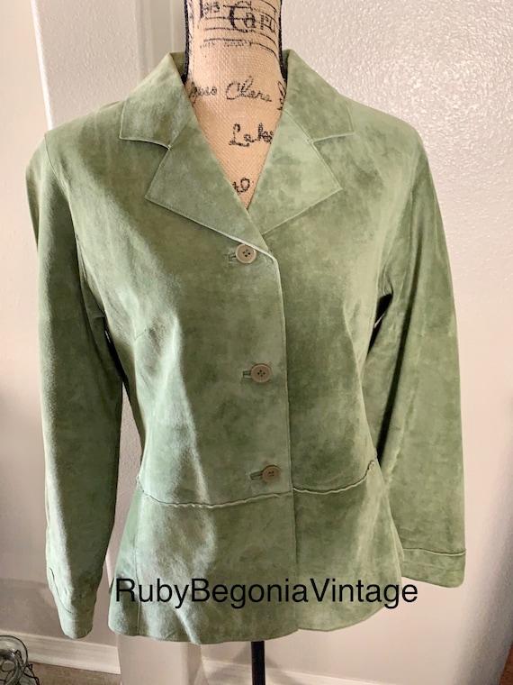 Vintage suede jacket, lime green, leather Jacket l