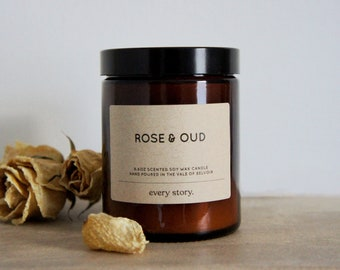 ROSE & OUD - Scented 100% Soy Wax Candle. Amber Apothecary Glass Jar with Wooden Wick, 180ml. Vegan, Handpoured, Small Batch, Gift.