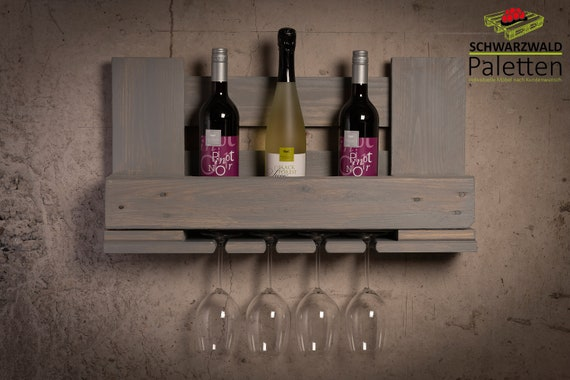 Weinregal Vintage Upcycling Holz Deko Wein Palette Europalette Handmade Natur