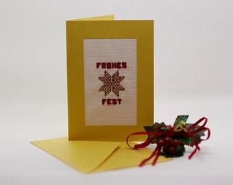 """Handgestickte goldfarbene Weihnachtskarte """"Glitzernder Stern"""""""