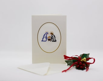 Hand embroidered Christmas card with nativity scene