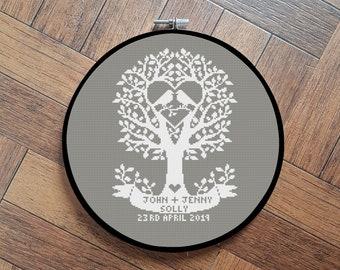 personalised wedding gift cross stitch pattern