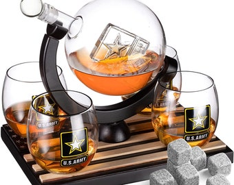 Globe Whiskey Decanter Set with 4 Liquor Glasses - US Army Whisky Decanter & Glass Set with Wood Base and 9 Whiskey Stones