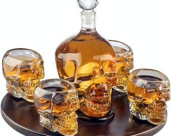 Large Skull Face Decanter with 4 Skull Shot Glasses and Beautiful Wooden Base