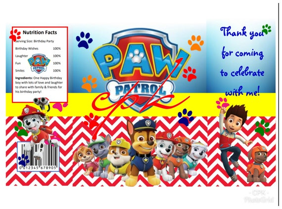 Paw Patrol Chip Bag Template