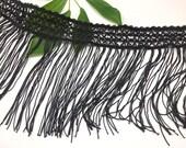 7 quot Boho Fringe Trim, Black Fringe Trim, Black Costume Fringe, Flapper Dress Fringe Trim Vintage inspired Fringe, Black Lace - BLK 6