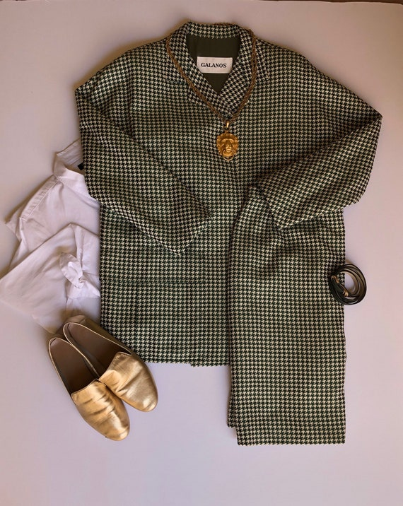 A vintage Galanos houndstooth skirt suit, 1980s