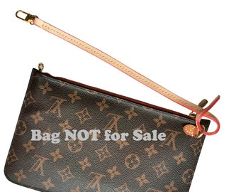 Replacement Wristlet for Neverfull Pochette, Strap, Wrist String for Zip Pouch, Real Vachetta Leather, Gold Clasps Active