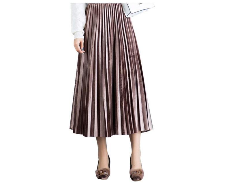 595c4b3e8 Women Velour Pleat Skirt Gold Velvet Winter Maxi Dress Pleuche | Etsy