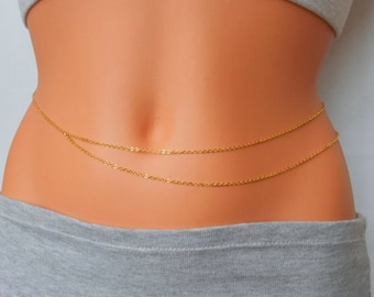 18 gold plated Waist chain, simple belly chain, bikini body jewelry, beaded belly chain, body jewelry, festival belly chain, rave bellychain