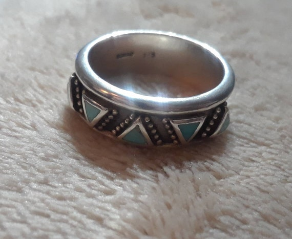 Large Vintage Tom Taylor Navajo Sleeping Beauty Turquoise Black Onyx Sterling Silver Ring