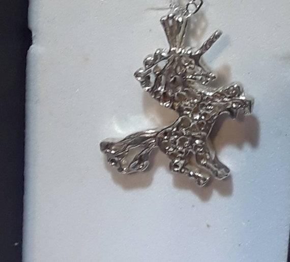Vintage Silver Unicorn Necklace - image 1