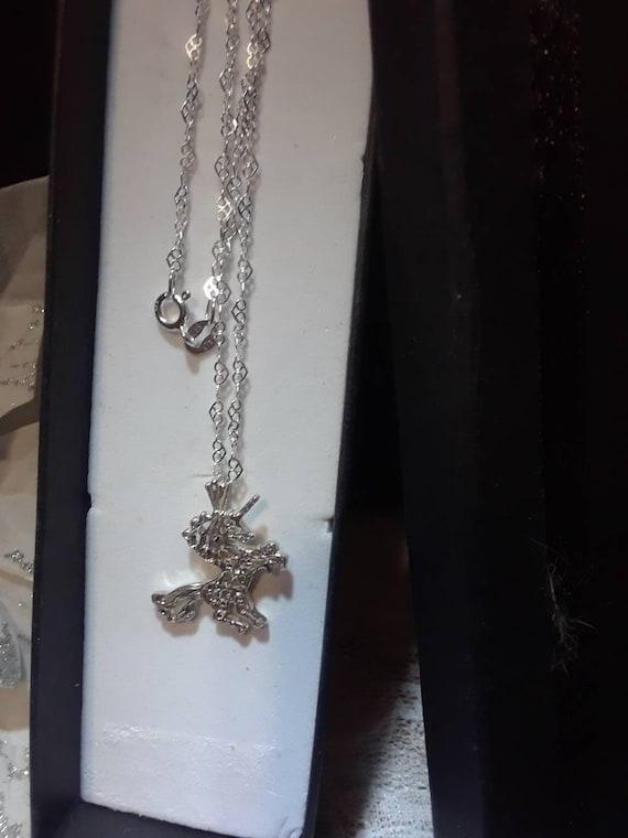 Vintage Silver Unicorn Necklace - image 3
