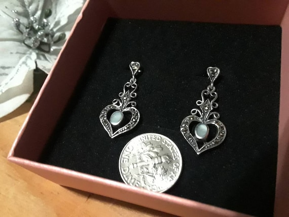 Antique Silver Marcasite  Mother Of Pearl Earrings