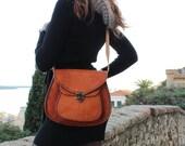 Women's leather shoulder bag. Natural leather bag in vintage style, shoulder bag, leather shoulder bag, leather bag