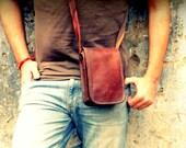 Shoulder leather bag for me,. Vintage style, brown leather bag wallet