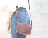 Shoulder leather bag for women. Vintage style, brown leather bag wallet