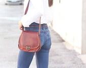 Genuine leather shoulder bag woman style vintage leather brown camel