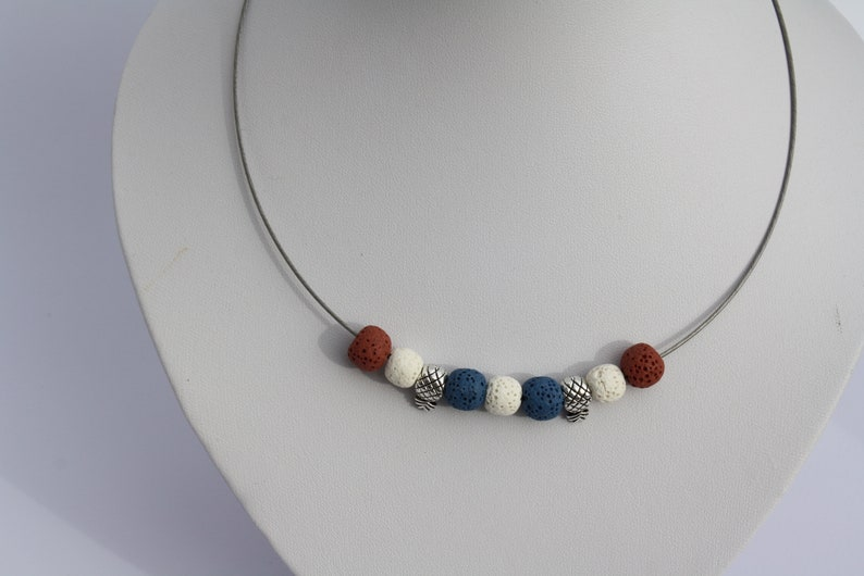 Jewelry necklace necklace tire Reif Collier silver lava pineapple blue white brown
