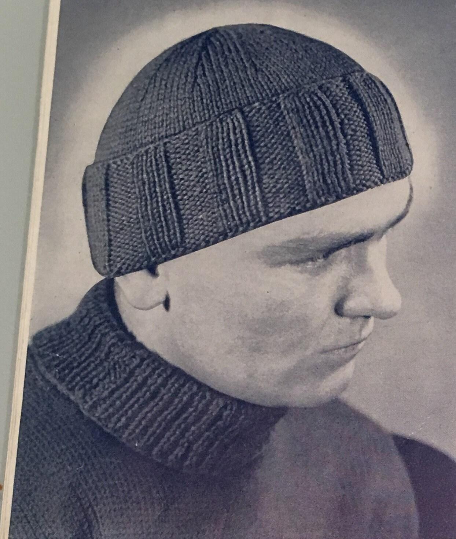 Vintage Knitting Pattern Hat Watch Cap 1950s  27907aa9bde