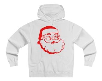 Retro Santa Claus, Men's Lightweight Pullover Hooded Sweatshirt