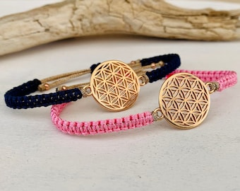 Lifeflower bracelet, flower of life rosegold, many colors possible, macrame bracelet, symbol of harmony and energy, length adjustable