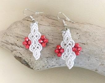 boho earrings, macramé earrings, white and coral, earrings silver 925, handmade earrings, earrings small, great gift for woman
