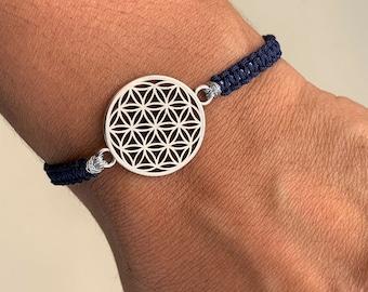 Lifeflower bracelet, flower of life silver, many colors possible, macrame bracelet, symbol of harmony and energy, length adjustable