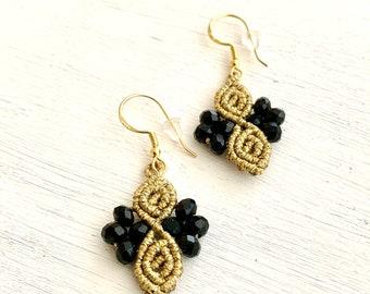Macrame earrings, small earrings boho, silver 925 earrings, earrigne small, various colors