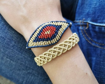bracelet eye, nazar, egyptian eye, friendship bracelet, boho bracelet, macrame bracelet, length adjustable, evil eye macrame,color selection