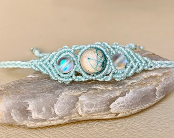 Macrame bracelet with moonstone, semiprecious stones jewelry hypoallergenic, turquoise bracelet bohostyle, gift for women