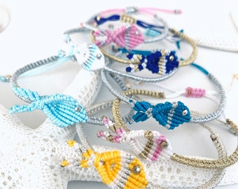 Macrame fish bracelet, jewelry hypoallergenic, summer beach and sea, many colors, length adjustable, macrame fish