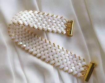 Summer bracelet, white gold bracelet, cuff bracelet, bracelet made of glass beads Miyuki half tila, gift women, unique