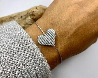 Bracelet Macramé Heart, Friendship Bracelet, Heart Bracelet, Macramé Jewelry Hypoallergenic, Heart Bracelet, Many Colors, Adjustable