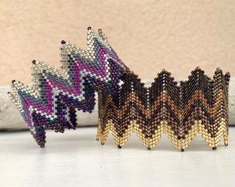 Bracelet wide, cuff bracelet, zigzag bracelet, exclusive Christmas gift, gift women, unique, pearl bracelet MiYuki
