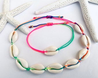 Rainbow anklet Kauri shells also bracelet in set, foot chain unisex neon colors, 925 silver, jewelry sand and sea,length adjustable