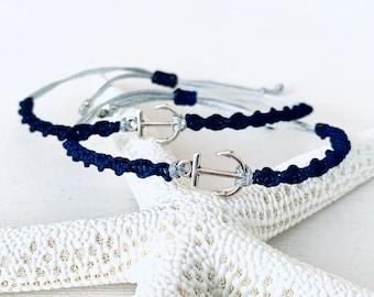 Anchor bracelet, maritime jewelry, birthday gift for her, beach and sea, macrame bracelet, friendship bracelet, length adjustable