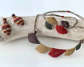 Macrame jewelry set leaves, jewelry hypoallergenic, leaf necklace earrings bracelet, micromacrame, color selectable