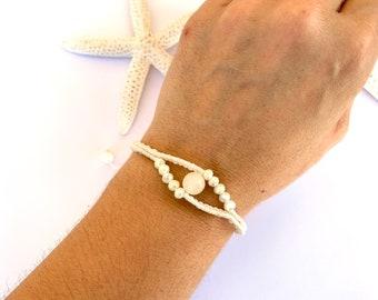 Bracelet eye with jade pearl, macramé bracelet white,, jewelry hypoallergenic, gift for women, bracelet summer, length adjustable