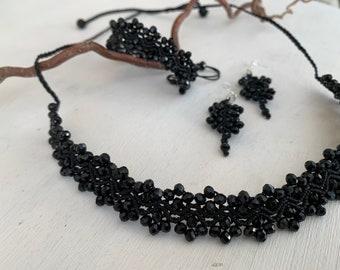 Jewelry Set Black, Macramé Necklace Choker Bracelet Earrings 925 Silver, Great Christmas Gift for Women