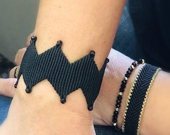 Zig zag bracelet, Greek style, cuff bracelet, macrame bracelet black, cuff chevron bracelet, elegant bracelet,macrame